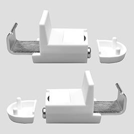 Klemmflex Klemmträger mit Magnet<br>für Alu-Jalousien und Rollos<br> mit metallischer Unterschiene<br>2 Stück, Farbe: weiss